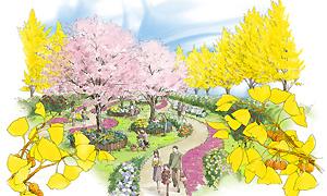 桜の木の下で自然に抱かれる樹林墓地